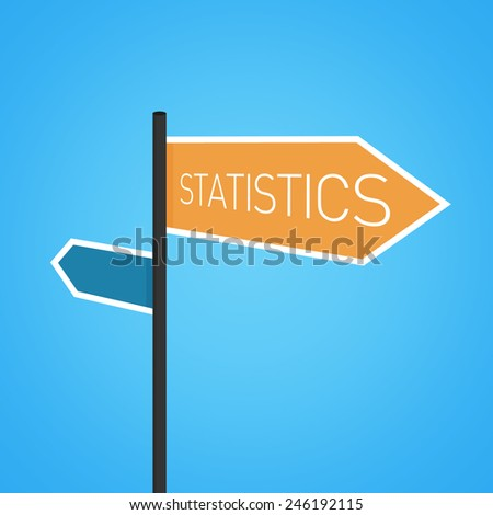 Statistics nearby, orange road sign concept on blue background