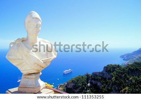 Statue above the Amalfi Coast, Villa Cimbrone, Ravello, Italy - stock photo