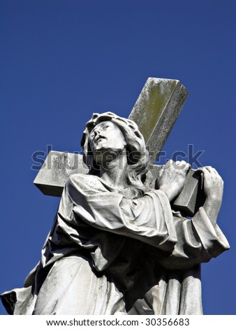 Statue at La Recoleta Cemetery in Buenos Aires - stock photo