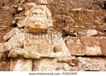 Statue at the ancient Mayan ruins of Copan, Honduras, Central America. - stock photo