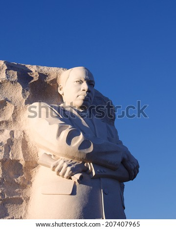 Statue at the Martin Luther King memorial in Washington DC, USA in October 2013. - stock photo