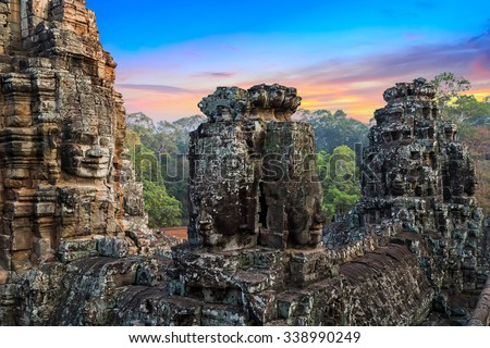statue Bayon Temple Angkor Thom, Cambodia. Ancient Khmer architecture. - stock photo
