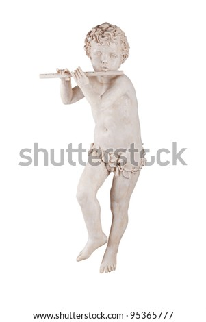 Statue boy playing a flute - stock photo