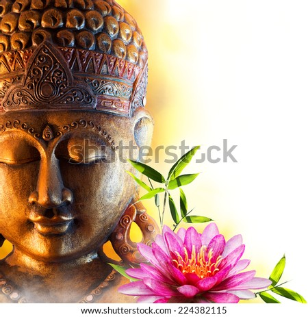 Statue buddha zen with water lily and bamboo - stock photo