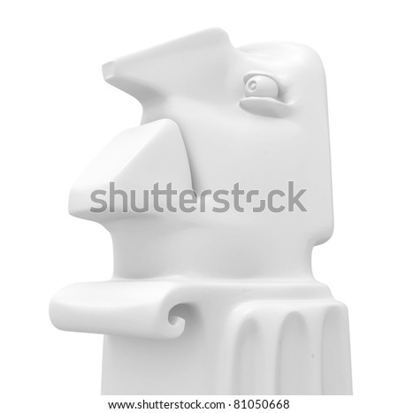 Statue bust expression 3d, over white, isolated