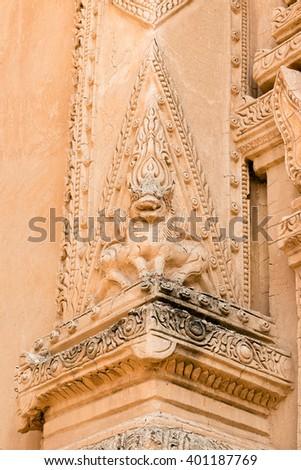 Statue decoration around the Nandamannya Temple at north of Minnanthu, Bagan, Myanmar - stock photo