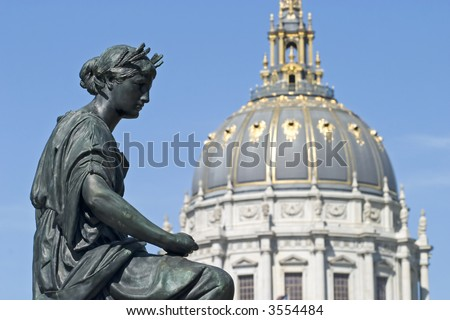 Statue face Close up by City Hall San Francisco California - stock photo