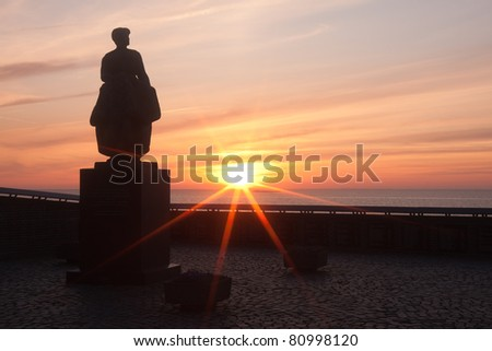 Statue for the drown fishingman in Urk, the Netherlands - stock photo