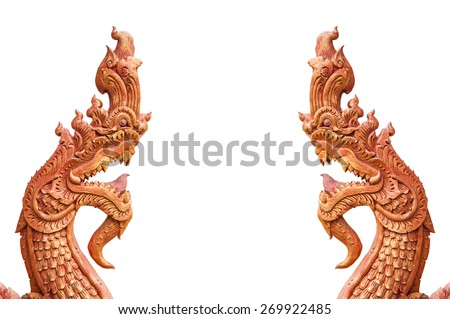 statue head serpent on white background - stock photo