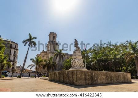 Statue in Central Park Havana, Cuba - stock photo