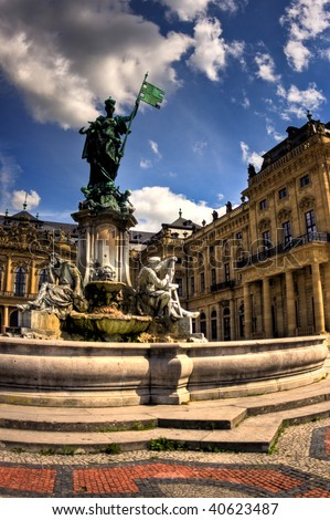 Statue in front of the Wurzburg palace, Germany - stock photo