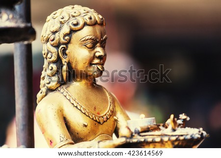 Statue in Kathmandu, Nepal - stock photo