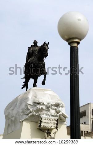 statue in park san martin or jose san martin lima peru south america - stock photo