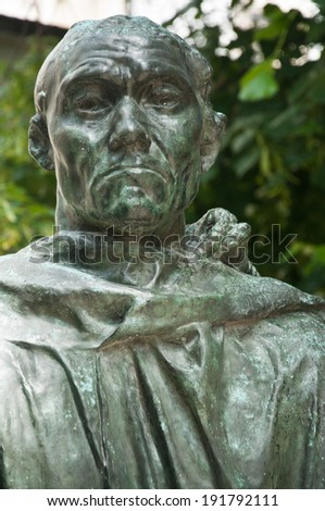 Statue in Rodin museum park in Paris - stock photo