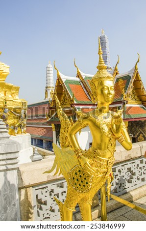 Statue in Royal Palace and Wat Phra Kaeo Complex in Bangkok, Thailand - stock photo
