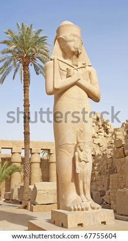 Statue in temple of Ramses III at Karnak in Luxor - stock photo