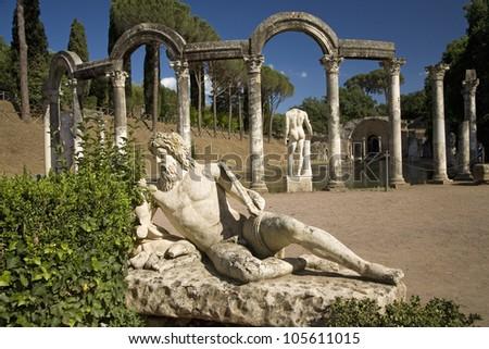 Statue in the Canopus at Hadrian's Villa, Tivoli near Rome, Italy, Europe - stock photo