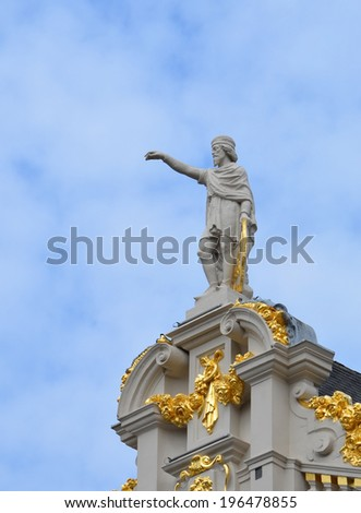 Statue in the Grand Place, Brussels - stock photo