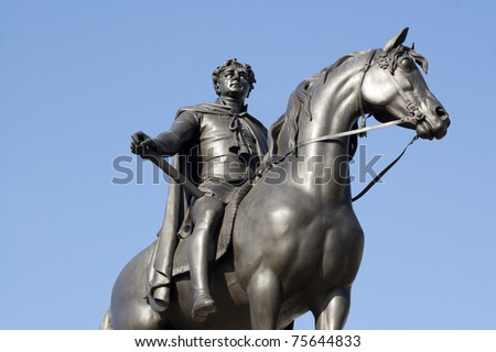 Statue in Trafalgar Square, London of King George IV (1762-1830). George the Fourth was King of England, Scotland and Ireland for ten years before his death. - stock photo
