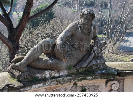 Statue in Villa Celimontana public park in Rome, Italy - stock photo