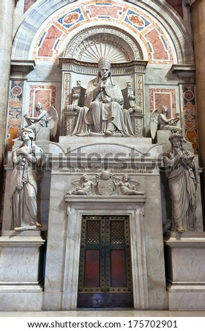 Statue inside St Peter's Basilica, Rome, Italy. - stock photo