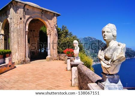 Statue lined terrace at Ravello, Amalfi Coast, Italy - stock photo