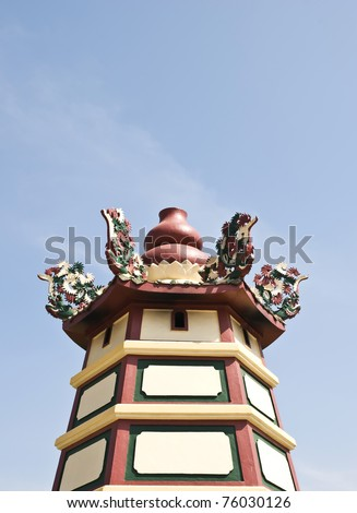 statue lion on the roof - stock photo
