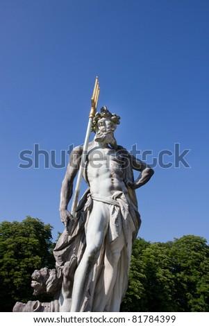 Statue Neptune  ,Munich, Nymphenburg palace on sunny day. germany - stock photo