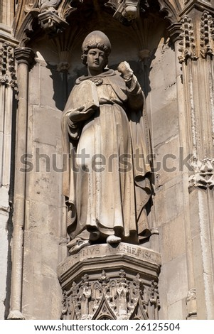Statue of a bishop made in stone in Canterbury