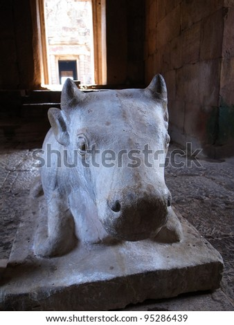 Statue of a cow.,Castle rocks in the Northeast of Thailand - stock photo