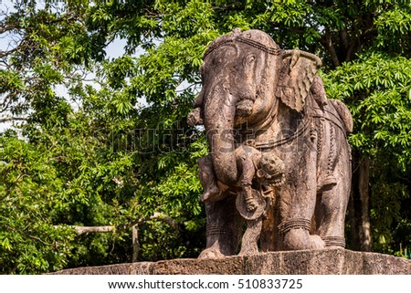 Statue of a giant elephant saving the life of a human boy as per Hindu mythology at Konark Sun temple in India.