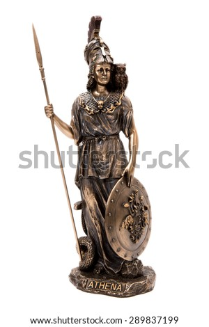 Statue of a greek goddess Athena on a white background - stock photo