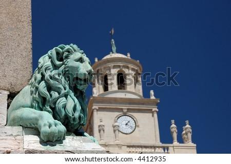 Statue of a Lion at Place de la Republique in Arles, France - stock photo