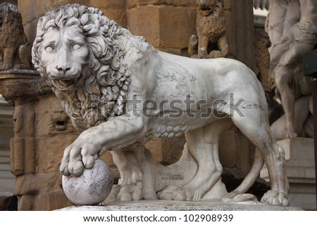 Statue of a lion at Signoria square in Florence, Italy - stock photo
