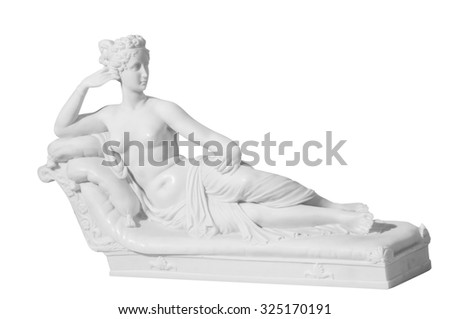 statue of a naked woman on a white background - stock photo