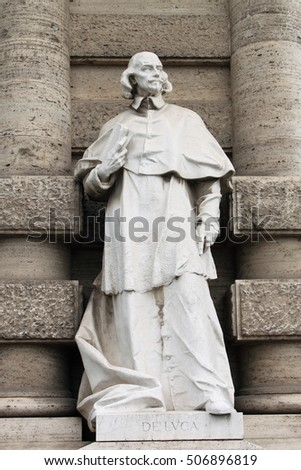 Statue of a philosopher in front of the Palace of Justice in Rome, Italy