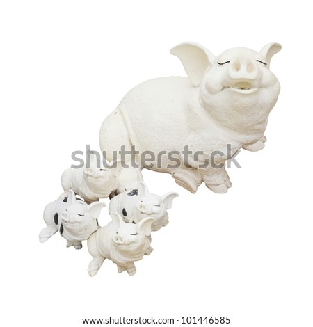 Statue of a pig family isolated over a white background. - stock photo