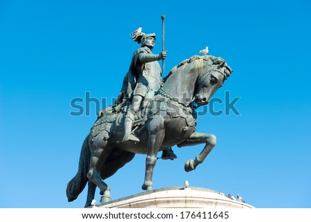 statue of a riding man in Lissabon Portugal  - stock photo
