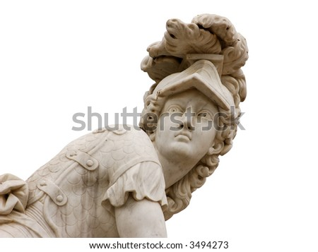 Statue of a roman warrior isolated over white background - stock photo