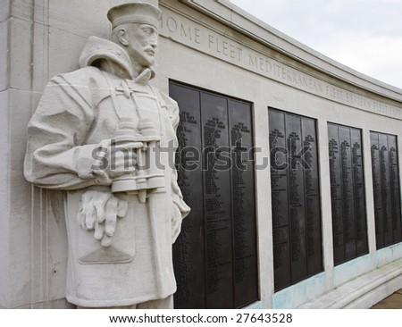 Statue of a Sailor on the Chatham Naval Memorial in England - stock photo