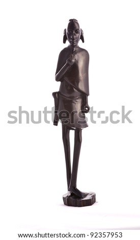 Statue of a warrior masai carved from ebony - Tanzania - stock photo