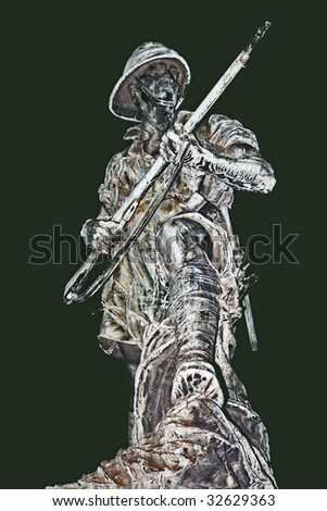 Statue of a WWII South African soldier in the desert