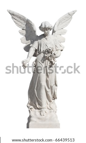 Statue of a young angel isolated on white with clipping path - stock photo