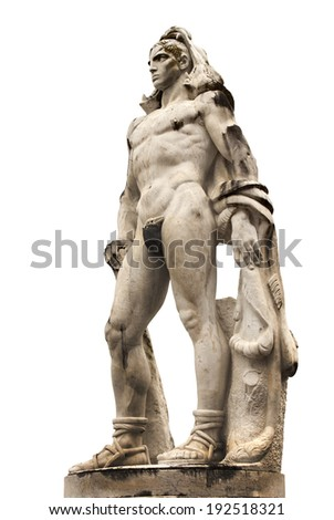 Statue of a young athlete (Hercules), 1930s Italy. From Italic Forum (Foro Italico), Rome. - stock photo