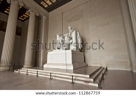 Statue of Abraham Lincoln at Lincoln Memorial, Washington DC, District of Columbia, USA, HDR - stock photo