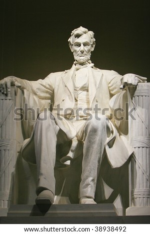 Statue of Abraham Lincoln at the Lincoln Memorial Washington DC USA - stock photo