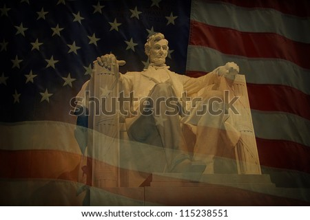 Statue of Abraham Lincoln at the Lincoln Memorial with superimposed American flag and grunge texture.