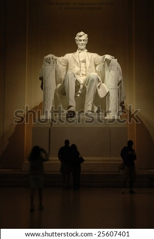 Statue of Abraham Lincoln in the Lincoln Memorial in Washington, DC. - stock photo