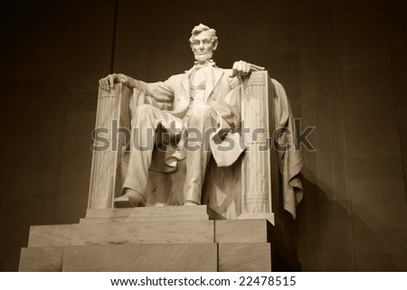 Statue of Abraham Lincoln in the Lincoln Memorial, Washington, DC. - stock photo
