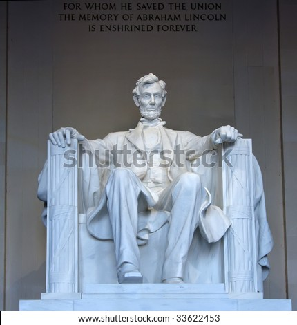 Statue of Abraham Lincoln in the Lincoln Memorial, Washington, DC